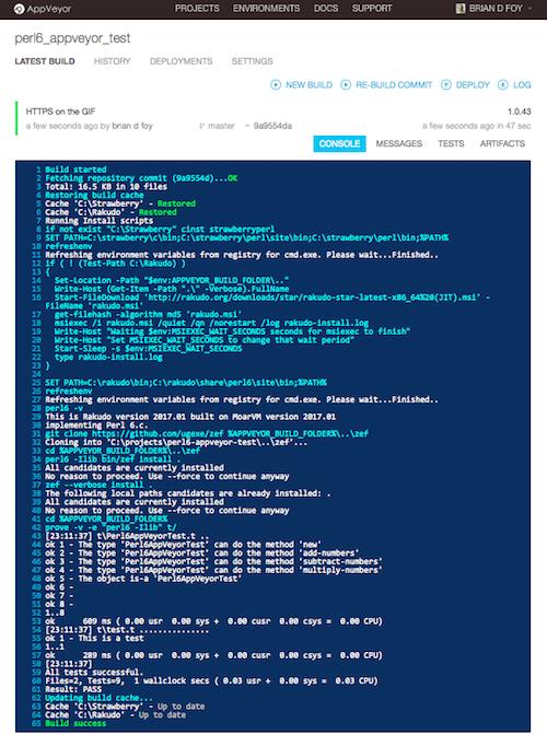 Rakudo Star on AppVeyor – Learning Perl 6